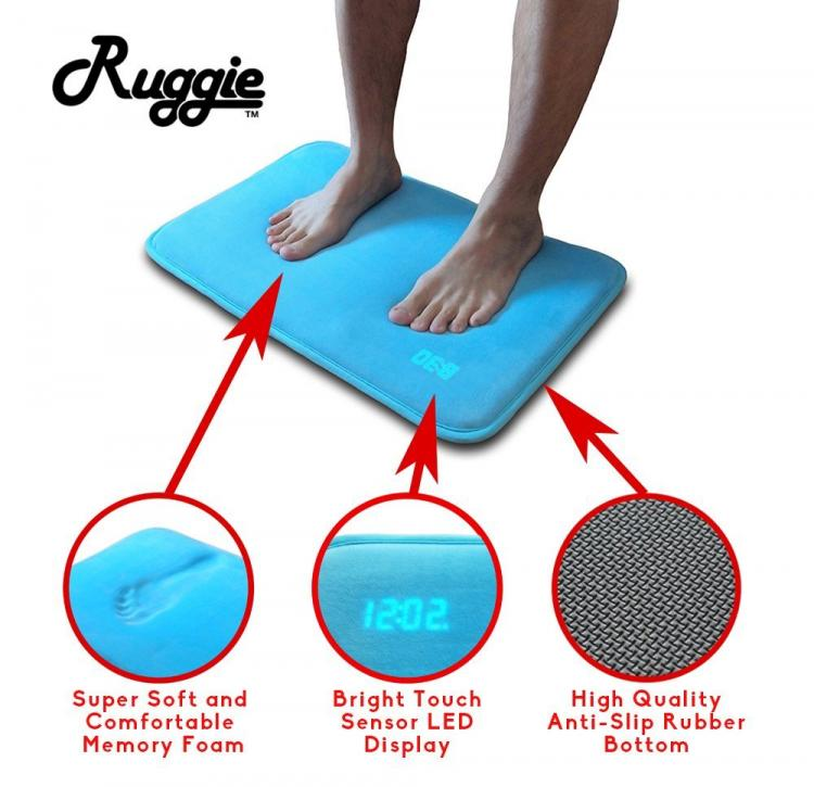 Ruggie Floor Mat Alarm Clock - Rug alarm clock - Must step on it for 3 seconds to turn off alarm