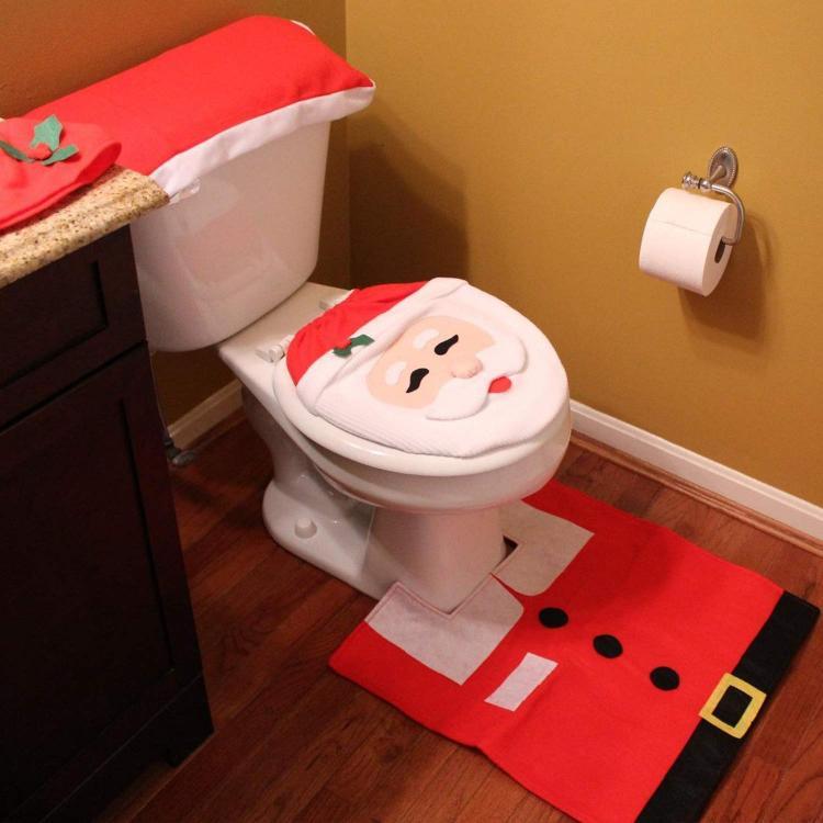Santa Toilet Seat Cover - Funny Santa Toilet Decorations