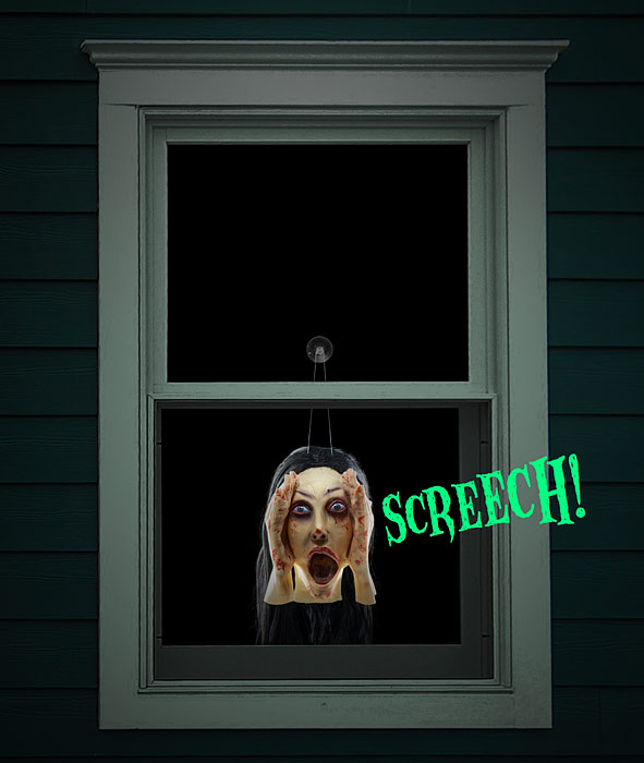 Screaming Banshee - Scary Peeper Screaming Head - Screaming Figure Window Sensor Halloween Decoration Prank Toy