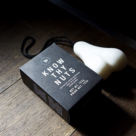 Know Thy Nuts scrotum shaped bar of soap on a rope
