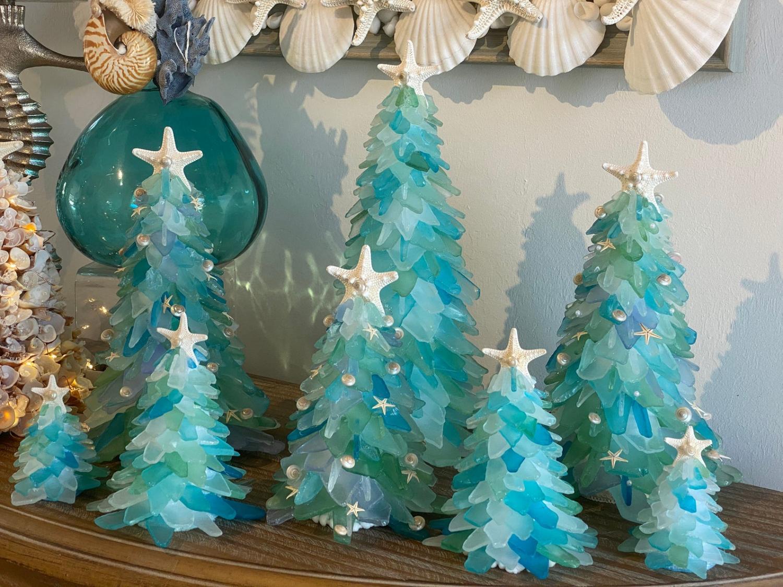 Sea Glass Christmas Trees - Tropical design sea glass Christmas tree decor