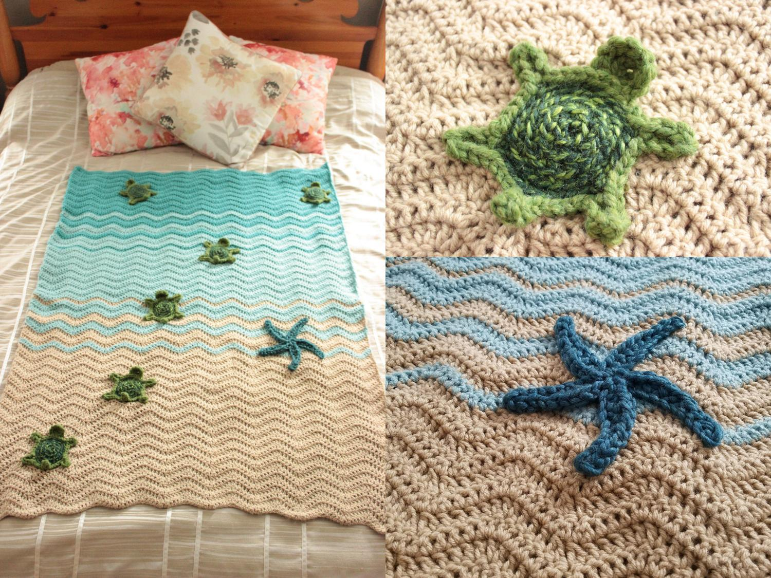 Sea Turtle Beach Blanket - DIY Crochet Sea Turtles Entering The Water On Beach Blanket