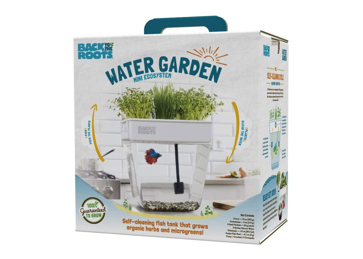 Self-Cleaning Fish Tank Garden Grows Food Using Your Your Fish's Waste - back to the roots fish tank herb garden
