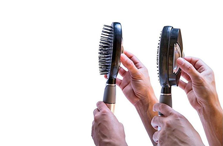 Qwik-Clean Hair Brush - Self-Cleaning Hair Brush - Pull Back Release Hairs