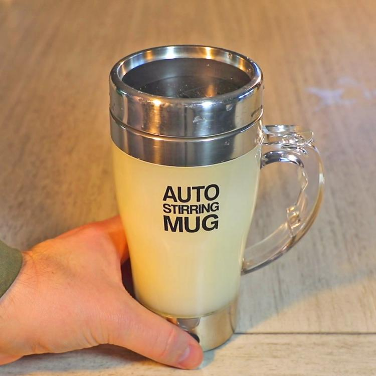 Self-stirring travel coffee mug - Clear auto mixing travel mug