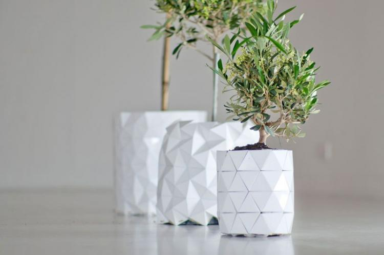 Shape-Shifting Origami Plant Pot Grows With Plant