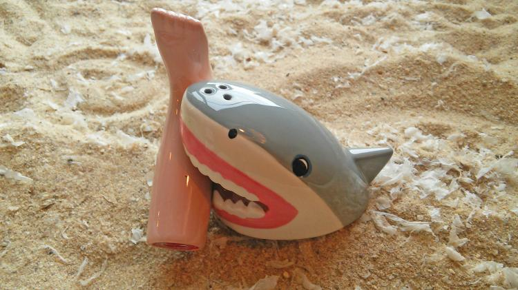 Shark Attack With Bloody Foot Salt and Pepper Set - Severed Foot Shark Attack Seasoning Set