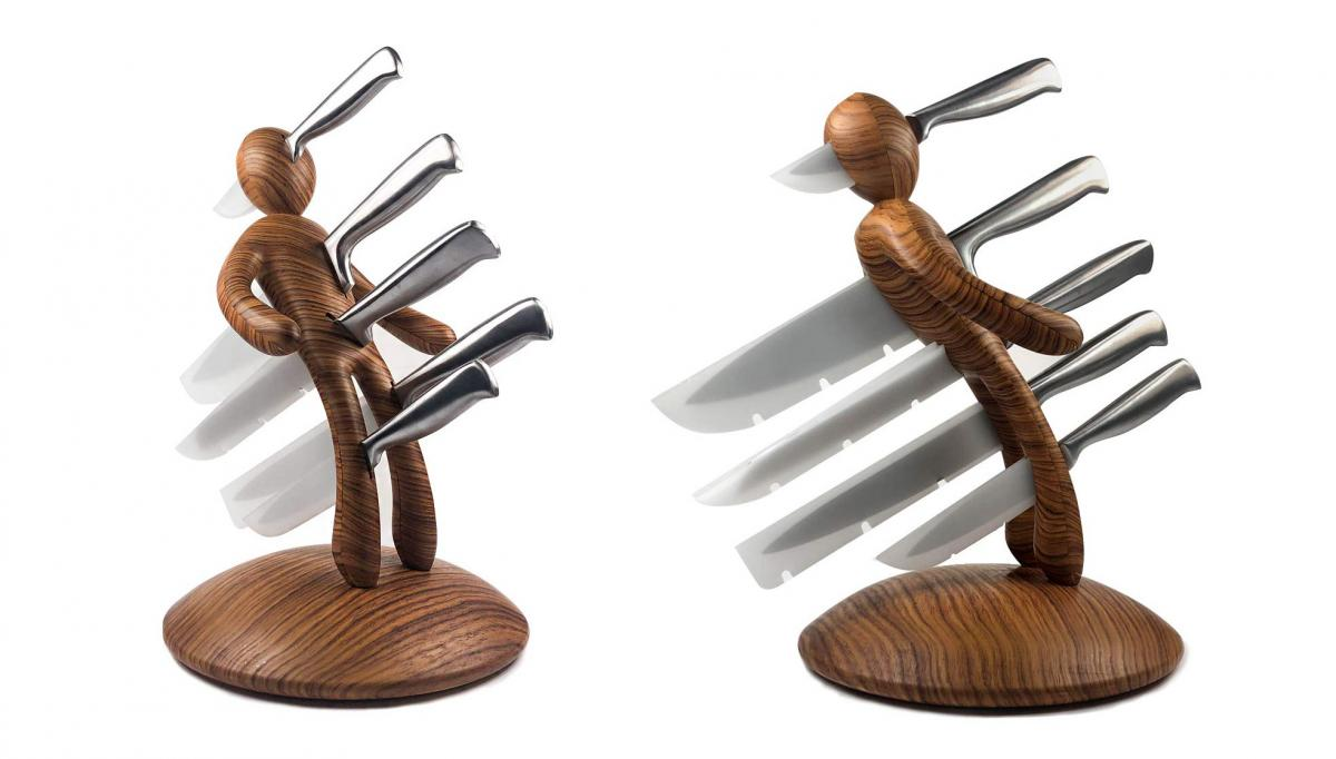 Voodoo knives in body knife block - creative and unique knife holders