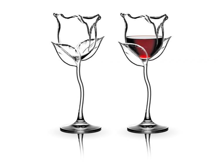 Verres à vin roses - verres à vin en forme de fleur rose