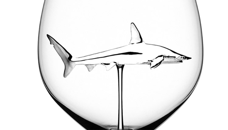 Shark wine glass - Shark swimming inside glass of red wine