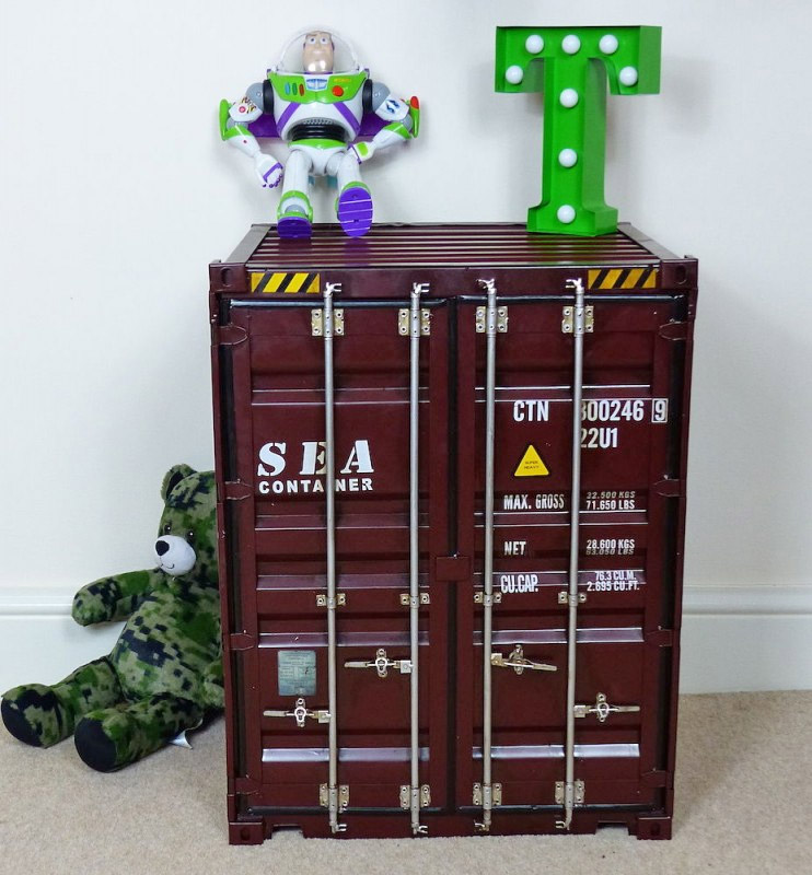 Industrial Shipping Container Storage Cabinet / Side Table