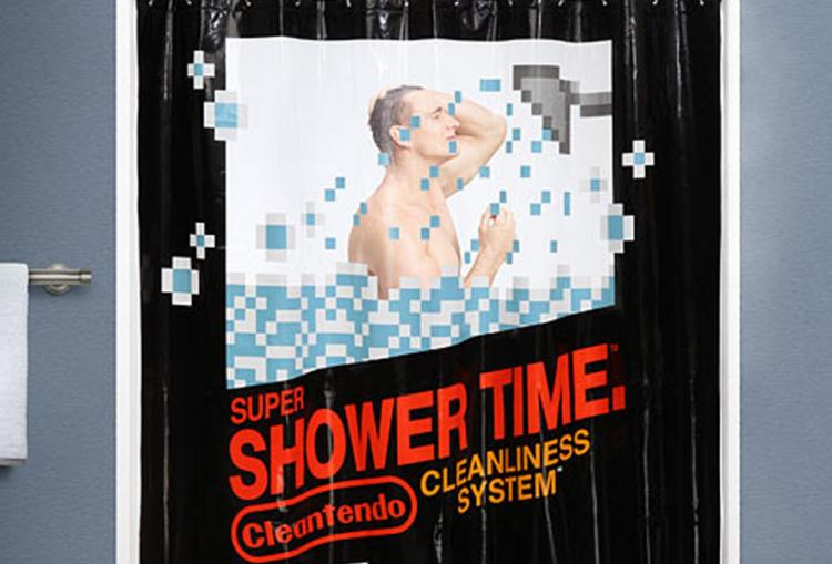 Pixelated Nintendo Cartridge Shower Curtain - Shower Time Shower Curtain