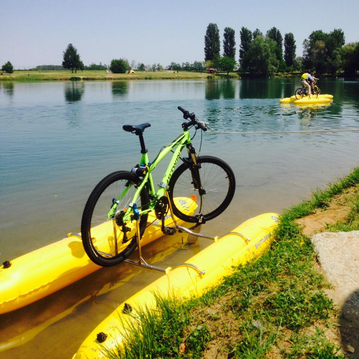 Shuttle Bike Bicycle Pontoon Boat Kit Turns Your Bike into a floating boat