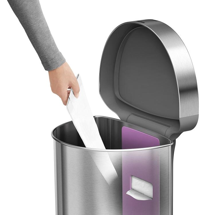 simplehuman auto opening sensor trash can has storage pocket inside bin for keeping extra trash