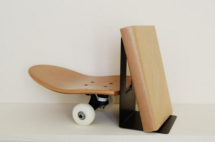 skateboard book end