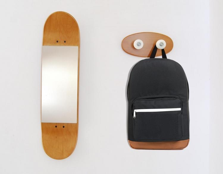 Skateboard mirror and coat rack