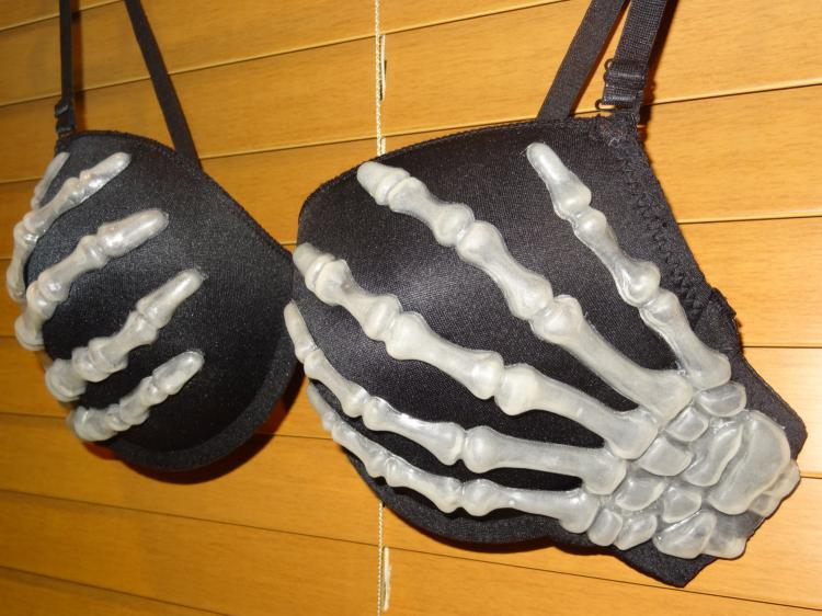 Skeleton Hands Bra Halloween Costume - funny Halloween bra costume - glow in the dark