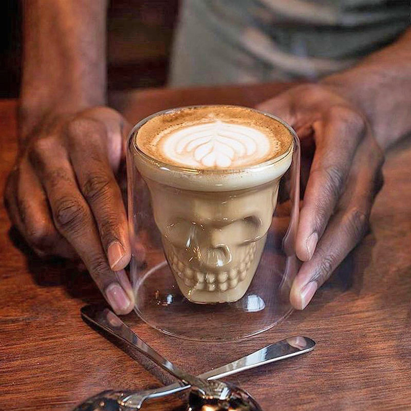 Skull Shaped Cocktail Glass For Halloween - Human Skull coffee glass