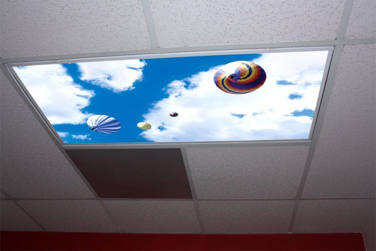 Sky Panel Light Fixture Cover - Bright blue sky office lights cover