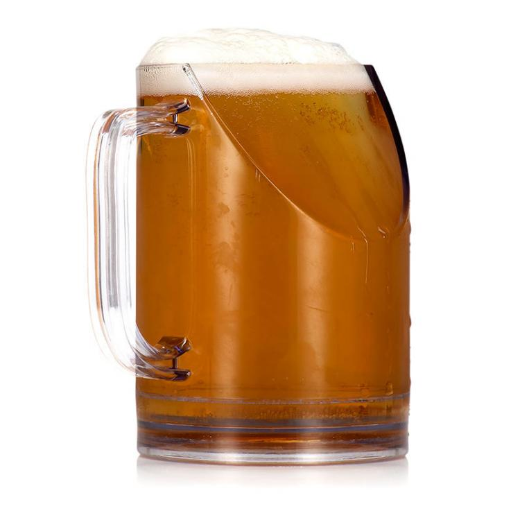 Better TV View Beer Mug - Slanted Beer Mug Won't Block TV while taking a sip
