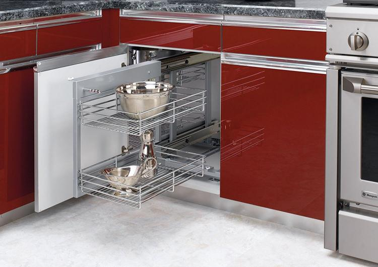 Blind corner cabinet slides all the way out for easy for Blind corner systems for kitchen cabinets
