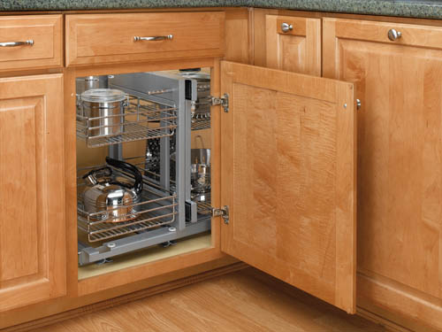 blind corner cabinet slides all the way out for easy access to