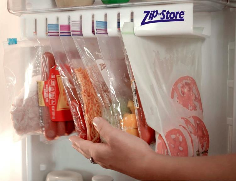 Zip n Store - Ziploc Bag Fridge Organizer - Slide out ziploc bag holder