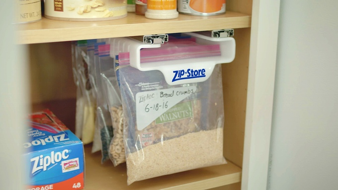 Zip N Store A Slide Out Holder For Ziploc Bags In The Fridge