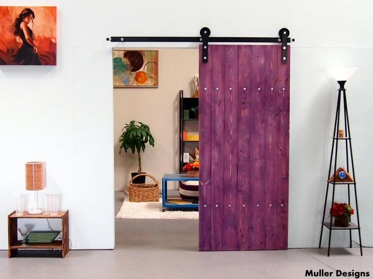 Sliding Single Barn Door Kit - Purple