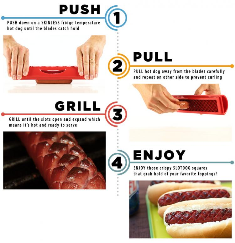 Slot Dog Cut Slots Into Hot Dog For Even Cooking - Slot Dog Hot Dog Scorer Slices Hot dog for better flavor
