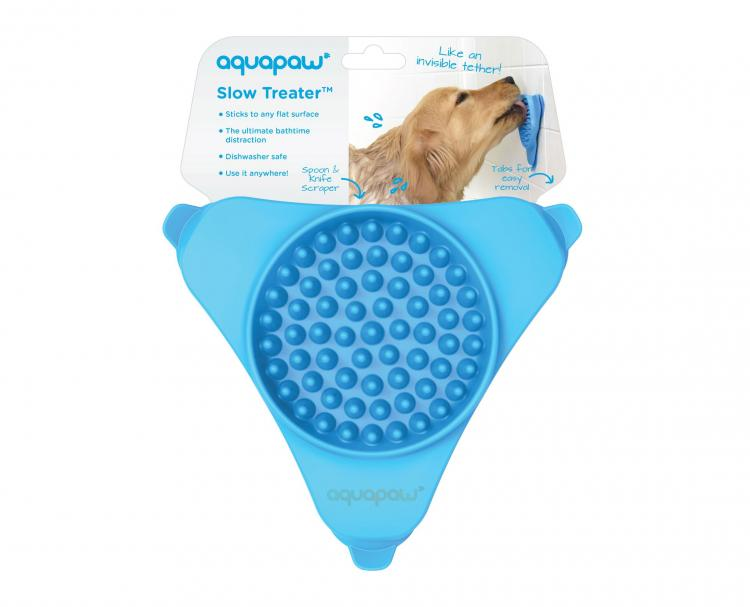 Slow Treater: Wall Mounted Treat Lick To Distract Dogs While Bathing - Peanut butter dog bath distraction tool