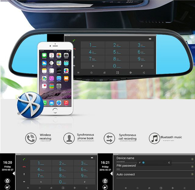 Smart Rear-View Mirror - Smart Car Mirror With Touchscreen, GPS Navigation, and Dual Dash-cams