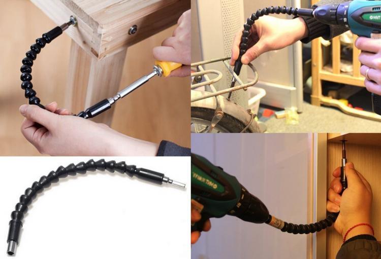 蛇钻头钻头 - 柔性钻头适配器 - 蛇形曲线成直角和尴尬的斑点