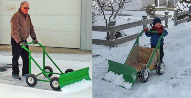 Snow Bully Wheeled Snow Pusher - Manual Snow Plow
