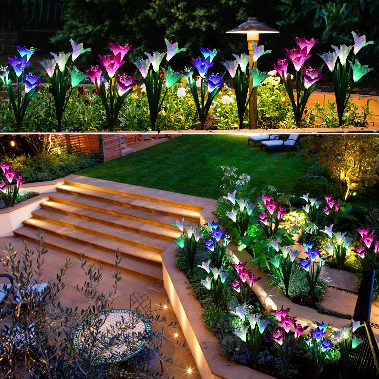 Solar Powered Flower Yard Lights - Solar lily flower lights for lighting pathway