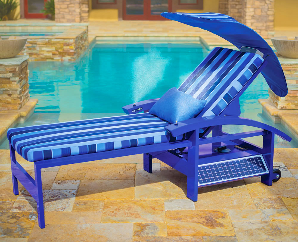 Ultimate Lounge Chair - Solar Powered Smart Lounger with built-in speakers, misters, and charger