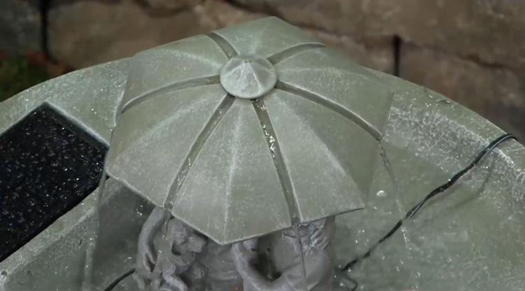 Solar Powered Water Fountain Kids Under Umbrella Endless Flowing Rain Fountain