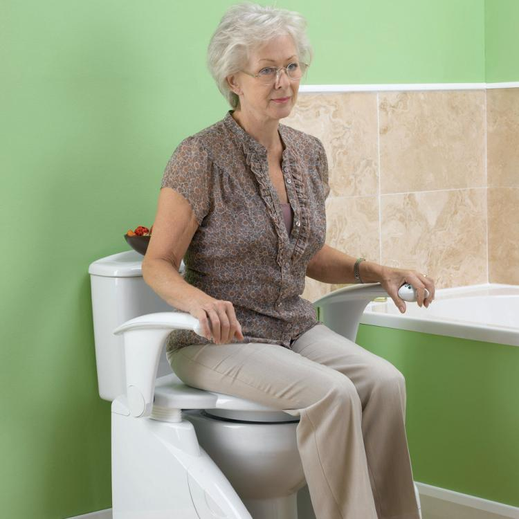 Solo Toilet Lift - Automatic toilet lifter helps seniors on and off toilet