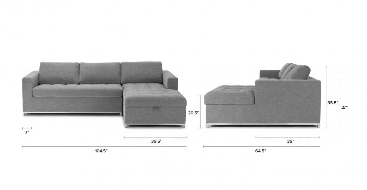 Soma Sofa Bed Sectional With Chaise Lounger Storage - Pull-up chaise storage area sofa bed sectional