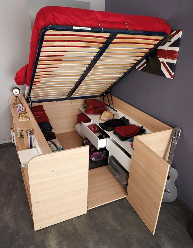 Parisot Space Up Bed - A pull-up bed that turns into a closet full of storage space