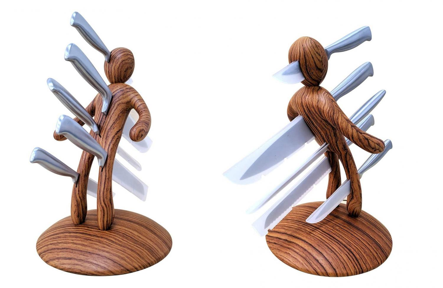 Voodoo stabbing wooden knife block design