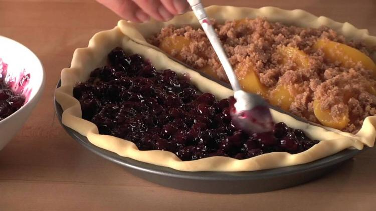 Split Pie Pan - Split Decision Pie Pan - Unique Pie pan lets you make two different pie flavors at once