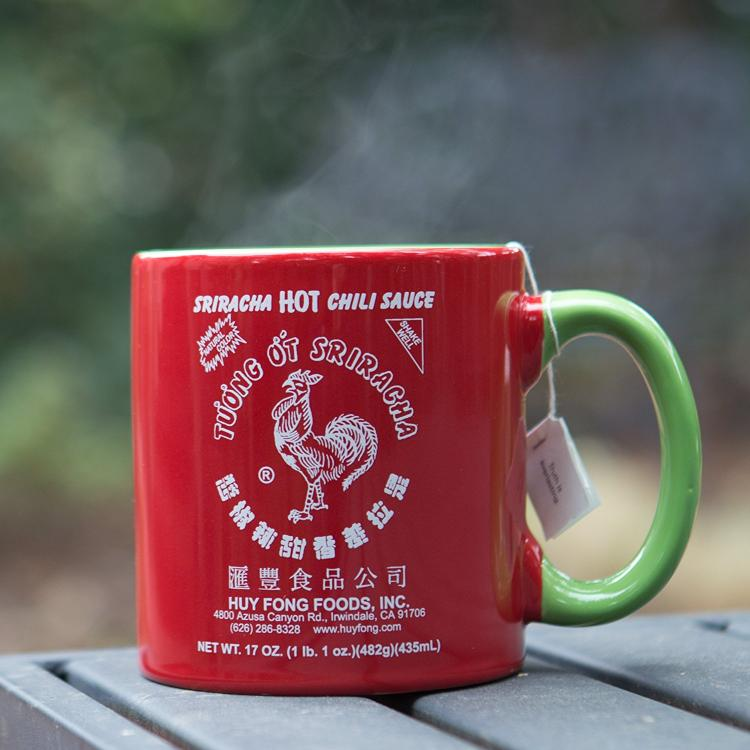 Sriracha Hot Sauce Coffee Mug - Sriracha Mug - Green Handle