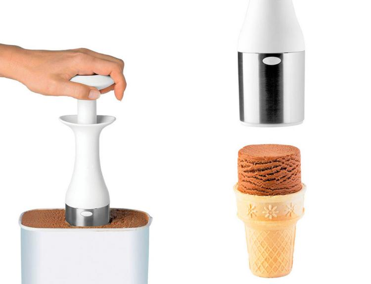 Unique Ice Cream Scooper Creates Stackable Scoops For Elegant Presentations - Cuisipro Scoop and Stack Ice Cream Scoop