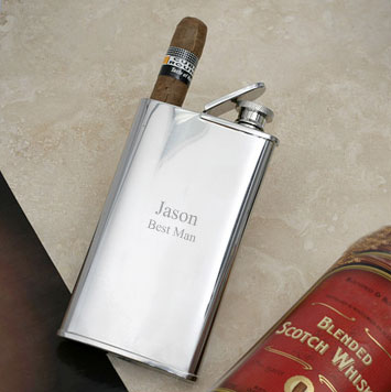 Flask and Cigar Holder Combo