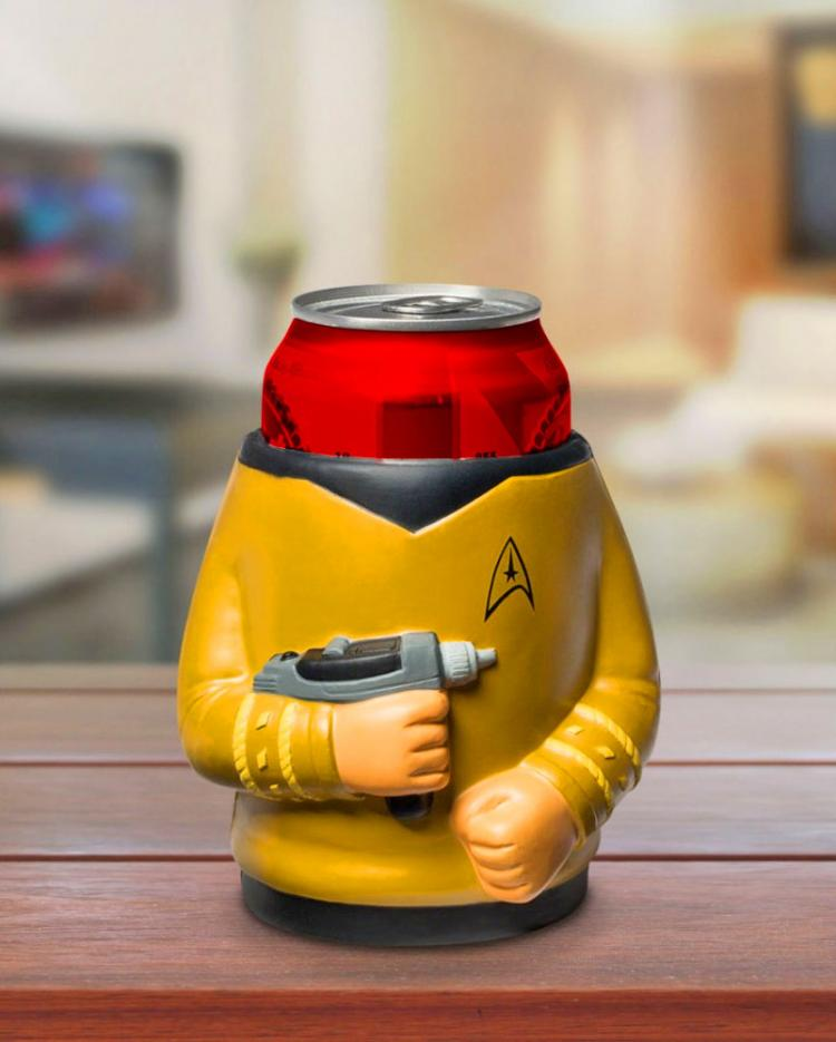 Star Trek Captain Kirk with phaser Beer Koozie - 3D yellow shirt star trek beer koozie