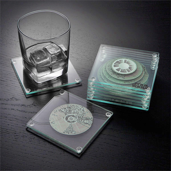 Layered 3D Death Star Coaster Set - 3D Star Wars Death Star Coasters