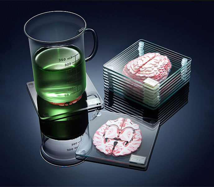 Layered 3D Human Brain Coaster Set