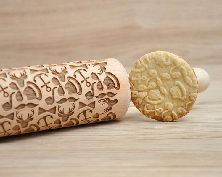 Hipster Themed Cooking Rolling Pin - Hipster Cookies