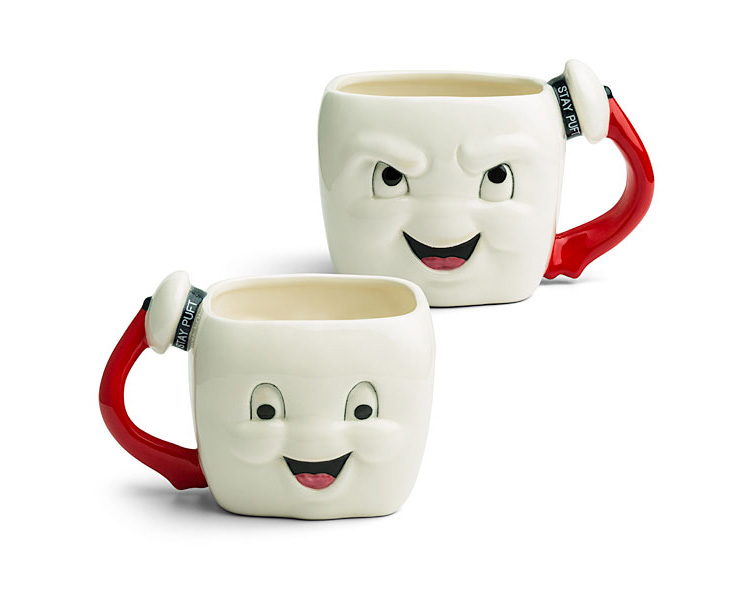 Stay Puft Marshmallow man coffee mug - happy/angry ghostbusters mug